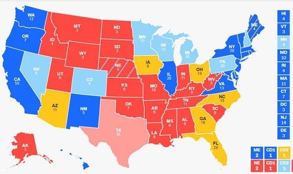 دائما ما تعقد الانتخابات في نظام الحكم في أمريكا في شهر نوفمبر/تشرين الثاني، ولا يفوز الرئيس بالتصويت المباشر من الشعب وحساب عدد الأصوات وإنما عن طريق المجمع الانتخابي (الكترول كولج)
