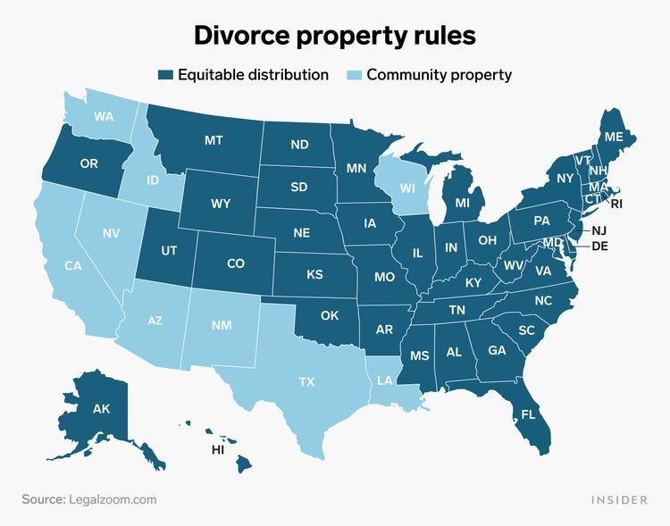 تقسيم الثروة عند الطلاق في أمريكا